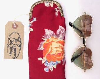 Deep Red Floral Print Cotton Glasses Case with Gold Snap Fastening.