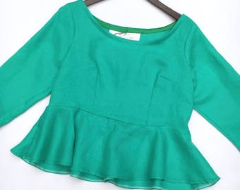 Jade green linen crop top 3/4 sleeve top UK size 12-14 cropped top handmade by The Emperor's Old Clothes