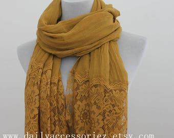 mustard yellow lace shawl