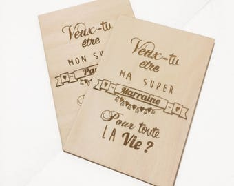 Engraved wooden card: will you be my godparent?