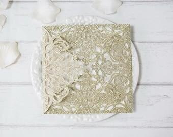 Pocket ONLY DIY Glitter Square Laser Cut Wedding Invitation Jackets Champagne Gold Black Silver Glitter  - no inserts  -DIY Laser Cut Wallet