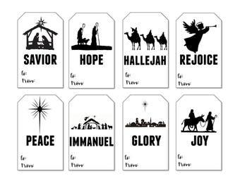 Nativity Gift Tags, Printable Christmas Gift Tags, Digital Christmas Gift Tags, Holiday Gift Tags, Gift Tags, Printable