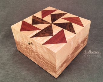 Dutchman's Puzzle, Pinwheel Style / Wood Marquetry Box by Quiltboxes