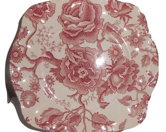Johnson Brothers English Chippendale Pink Square Dessert/Salad Plates Set Of 4