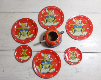 Vintage Tin Toy Dishes - Lithograph - Set of 7 - Children's Tin Plates - Dutch Girl Skater - Windmill