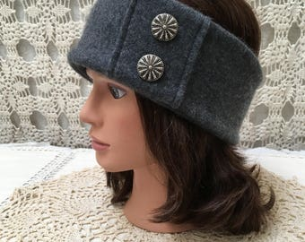 Cashmere headband-upcycled-recycled grey cashmere headband-made from sweaters