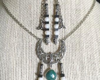 Gorgeous Mother moon, genuine emerald, with triquetra, necklace and earring set, women's jewelry, pagan, witch