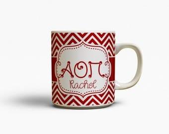 Alpha Omicron Pi merchandise , Monogram coffee mug, Cardinal chevron, A O Pi sorority mug, Little Bid day gift, Big sister initiation (1089)