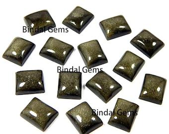 25 Pcs Natural Gold Sheen Obsidian Octagon Shape Smooth Calibrated Cabochon Loose Gemstone