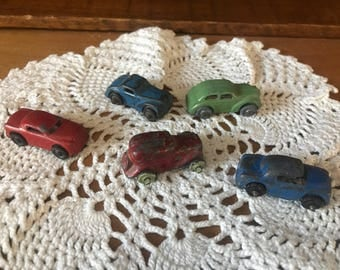 Lot of 5 vintage die cast cars. Tootsie?