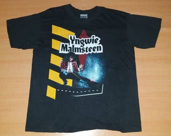 Vintage 1990 YNGWIE MALMSTEEN Eclipse US Tour Concert promo very rare 80s T-shirt T shirt