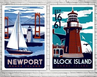 2-Pack Newport Block Island Vintage travel posters
