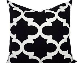 15% OFF SALE Decorative Pillows - Two Black Quatrefoil Pillow Covers - Moroccan Tile Pillow Cover - Accent Pillow - 16x16 18x18 20x20 22x22