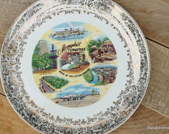 Tennessee Souvenir State Plate Memphis Collectible Plate Gold Border Wall Art Kitschy Kitchen Vintage Kitchen Cottage Chic Decor