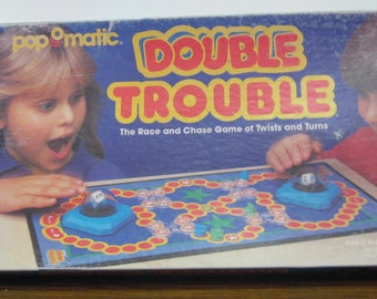 Double Trouble Pop-o-Matic Board Game Milton Bradley 1987 Vintage