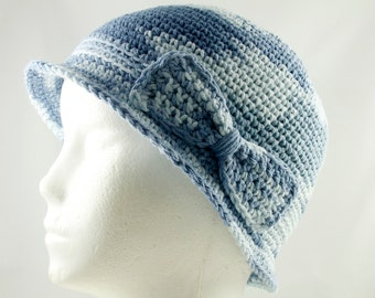 Cancer Hat for Girls in Blue Ombre - Chemo Hat/Bucket Hat/Chemo Cap/Cancer Cap/Bucket Cap