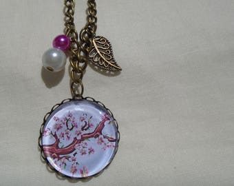 Cherry cherry blossom cabochon necklace