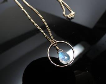 Rainbow Moonstone Pendant Necklace, June Birthstone, Flashy Blue Gemstone In Gold Filled, Circle Gemstone Pendant, 15-22 Inches