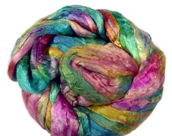 SALE Mulberry Silk roving, hand dyed turquoise/pink/yellow