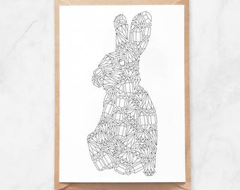 Rabbit Coloring Postcard, Gems Rabbit Postcard, Rabbit Coloring Page Postcard, Rabbit Coloring Page, Diamonds Postcard, Gemstones Postcard