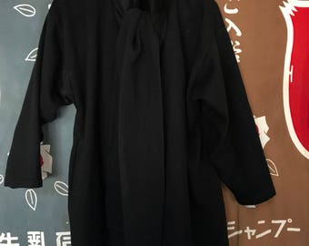Vintage Norma Kamali black wool scarf jacket