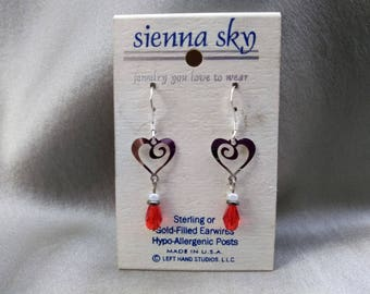 Valentines Day or not; Heart Dangle Pierced Earrings of 925 Sterling Silver Filigree