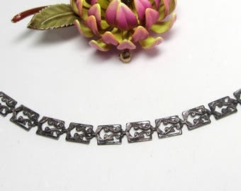 """Vintage DANECRAFT sterling silver filigree bracelet  7.5"""""""