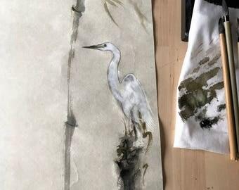 Heron, Chinese Ink Painting, Bamboo, Chinese Watercolor, Japanese Brush Painting, Sumi-e, Zen, Autumn, Heron Painting, Brush Artwork