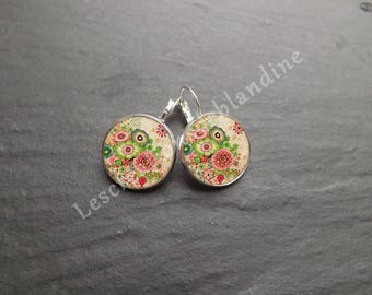 """""""Miscellany"""" sleepers bronze covered with a glass cabochon earrings"""