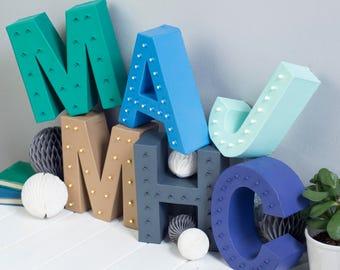 light up letter - wedding initials - nursery letter - monogram letter - marquee light
