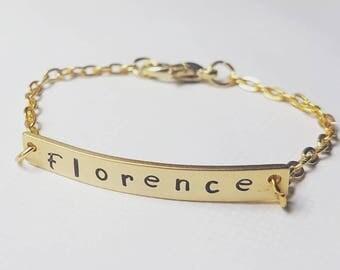 Baby name bracelet, 14k gold filled bracelet, christening bracelet, handstamped bracelet. Available in all sizes.