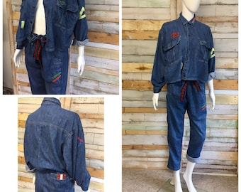 Super cool unusual 80's Naf Naf denim overalls/ jumpsuit / utility wear / all in one  ( great for maternity)