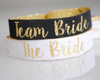 Team Bride Black & Gold Hen Party Wristbands - Bachelorette Party - Hen Party - Wristbands - Bachelorette Party - Hen Party Favours