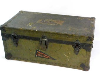 Vintage Olive Green Steamer Trunk, Wooden Storage Chest, Shippensburg Teacher's College, PA, Coffee Table Trunk