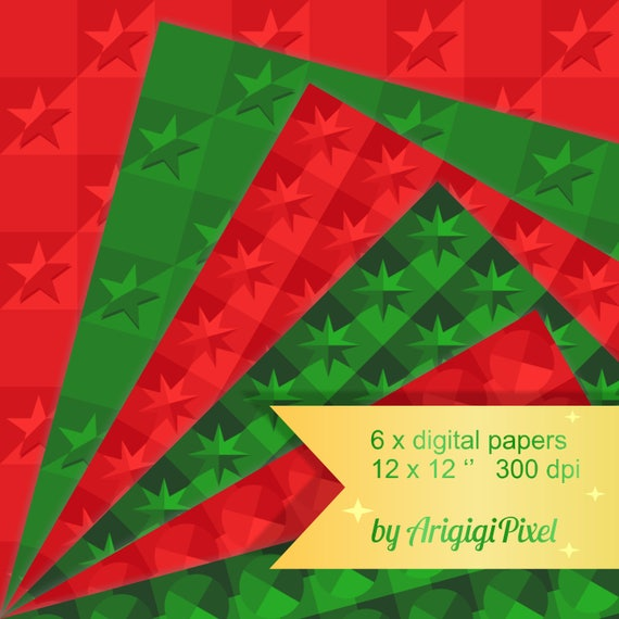 Red and Green Textured Papers, Repeating Patterned Papers , Christmas Digital Background, Scrapbooking sheet download