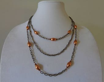 Long Boho Necklace, Statement Boho Necklace, Boho Chain Necklace, Statement Chain Necklace, Copper Metal Necklace, Multi Chain Necklace