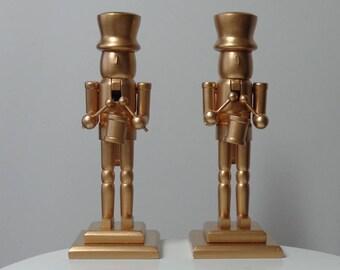 Candlesticks Holders, Candlesticks Decor, Home Decor Candlesticks, Gold Candlesticks, Wood Candlesticks, Nutcrackers Home Decor, Set of 2