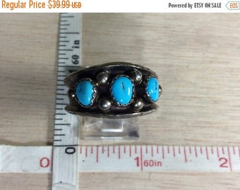 10% OFF 3 day sale Vintage 925 Sterling Silver 6.3g Turquoise Ring Size 11 Signed H Used