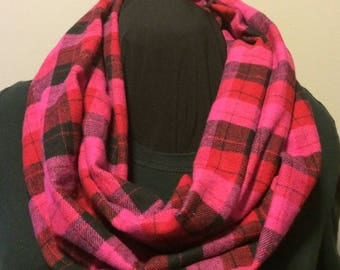 Pink Red and Black Plaid Cashmere Blend Flannel Infinity Scarf