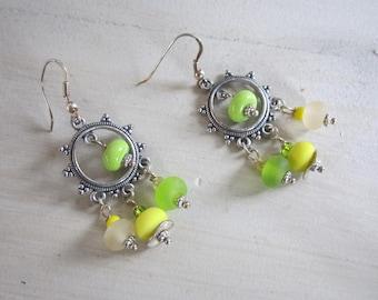 Bohemian earrings, green and yellow Lampwork beads