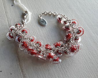 chain bracelet artisan lampwork 36 flowers red and transparent beads