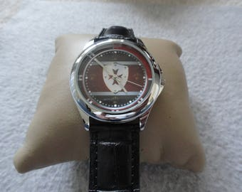 Men's Quartz Watch with an Unusual Dial - Black Leather Band