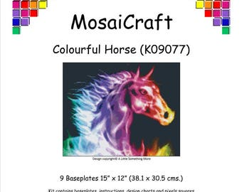 MosaiCraft Pixel Craft Mosaic Art Kit 'Colourful Horse' (Like Mini Mosaic and Paint by Numbers)