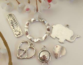 set of 6 metal charms