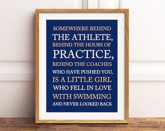 Inspirational art for athletes, swimmer art, swimmer gift, teen girl gift, teen boy gift, girls room decor, swimming wall art, kids wall art