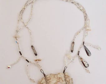 Vintage Maine Quartz Beaded Silver Statement Necklace Handmade OOAK Vintage Natural Bohemian Boho Festival Jewelry Upcycle Supply Beads