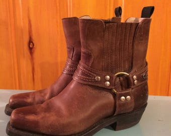 Vintage brown leather motorcycle boots