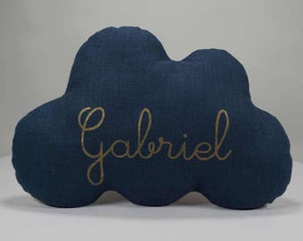 Personalized pillow cloud blue linen 35 x 23 cm