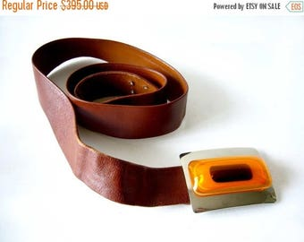 Summer Sale 1970's Aaronel deRoy Gruber Layered Lucite Belt Buckle on Leather Strap