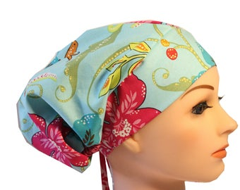 Scrub Hat Cap Chemo Bad Hair Day Hat  European BOHO Mint Ceil Green Floral Pink 2nd Item Ships FREE